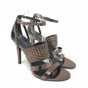 Calvin Klein Mayra bronze strappy high heel shoes